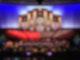 Der riesige Mormon Tabernacle Choir steht auf der Bühne