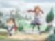 Anime-Mädchen läuft mit Hund einen Feldweg entlang